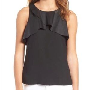 NWT Trouve Faux Leather Ruffle Tank